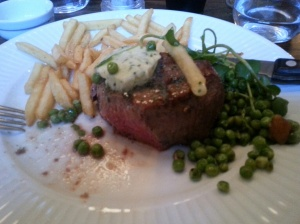 Medium-rare fillet steak with garlic butter